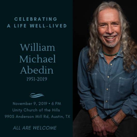 Celebration of Life for Austin All Natural Magazine editor/publisher, Michael Abedin (1951-2019)